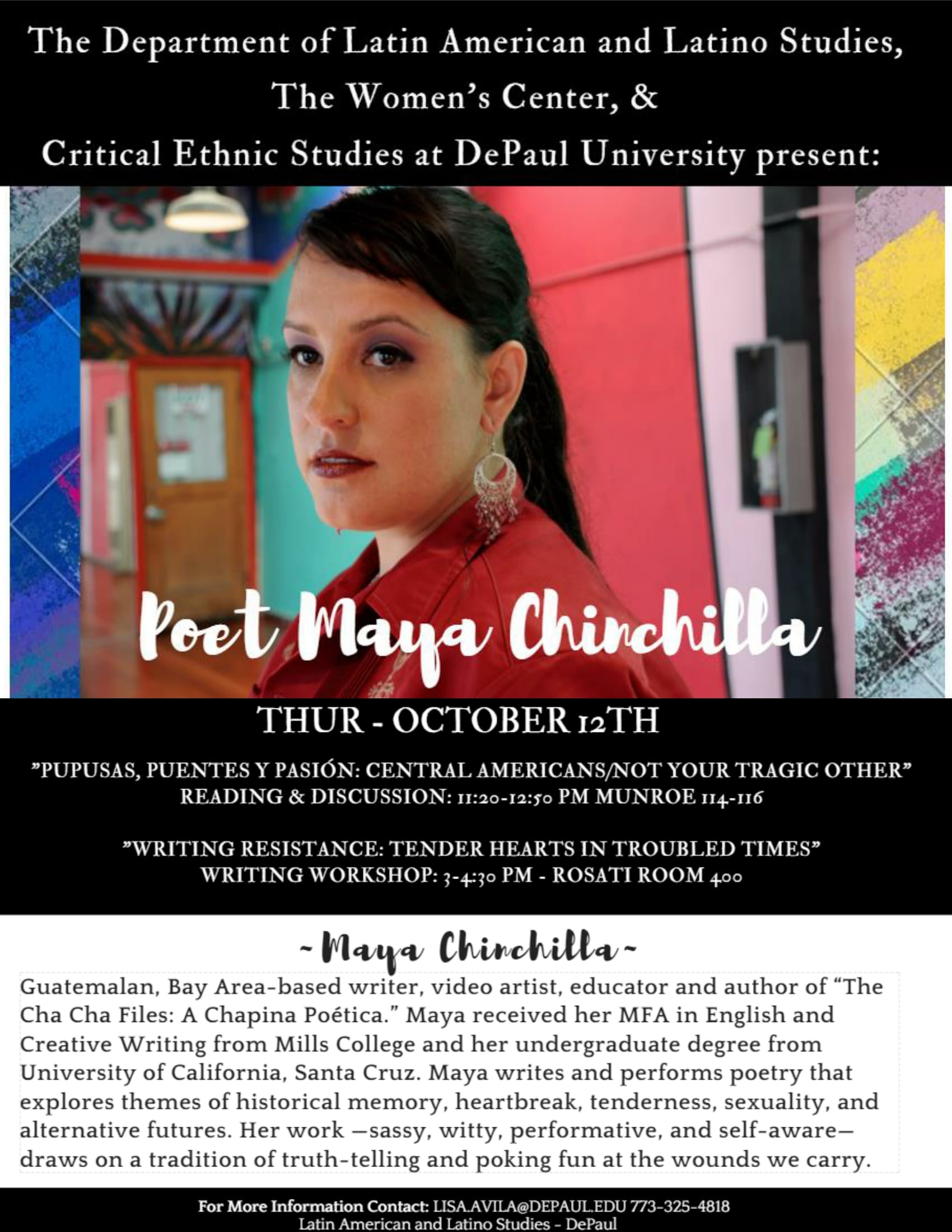 Poet Maya Chinchilla reading, discussion, and workshop at DePaul