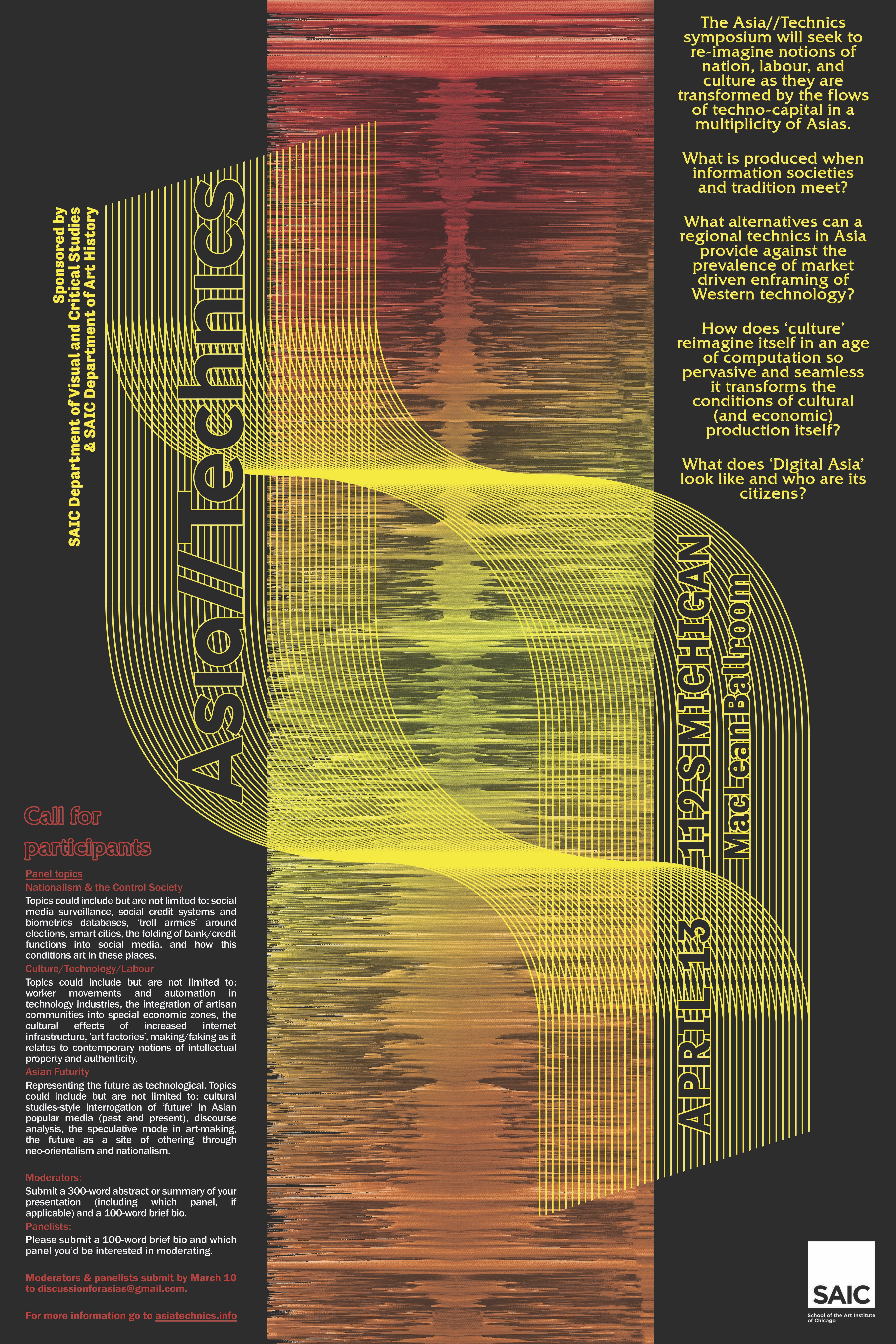 March 10, 2019 The Asia//Technics symposium (asiatechnics.info) sought to re-imagine notions of nation, labour, and culture and answered lots of questions: the flows of techno-capital in a multiplicity of Asias. What is produced when information societies and tradition meet? What alternatives can a regional technics in Asia provide against the the prevalence of market-driven enframing of Western technology? How does 'culture' reimagine itself in an age of computation so pervasive and seamless it transforms the conditions of cultural (and economic) production itself? What does 'Digital Asia' look like and who are its citizens? We cast Asian futurity into relief against AI-assisted technologies that entertain and monitor, special economic zones that bring prosperity and displacement, and other sites responsible for creating Asia's polymorphous technical cultures.