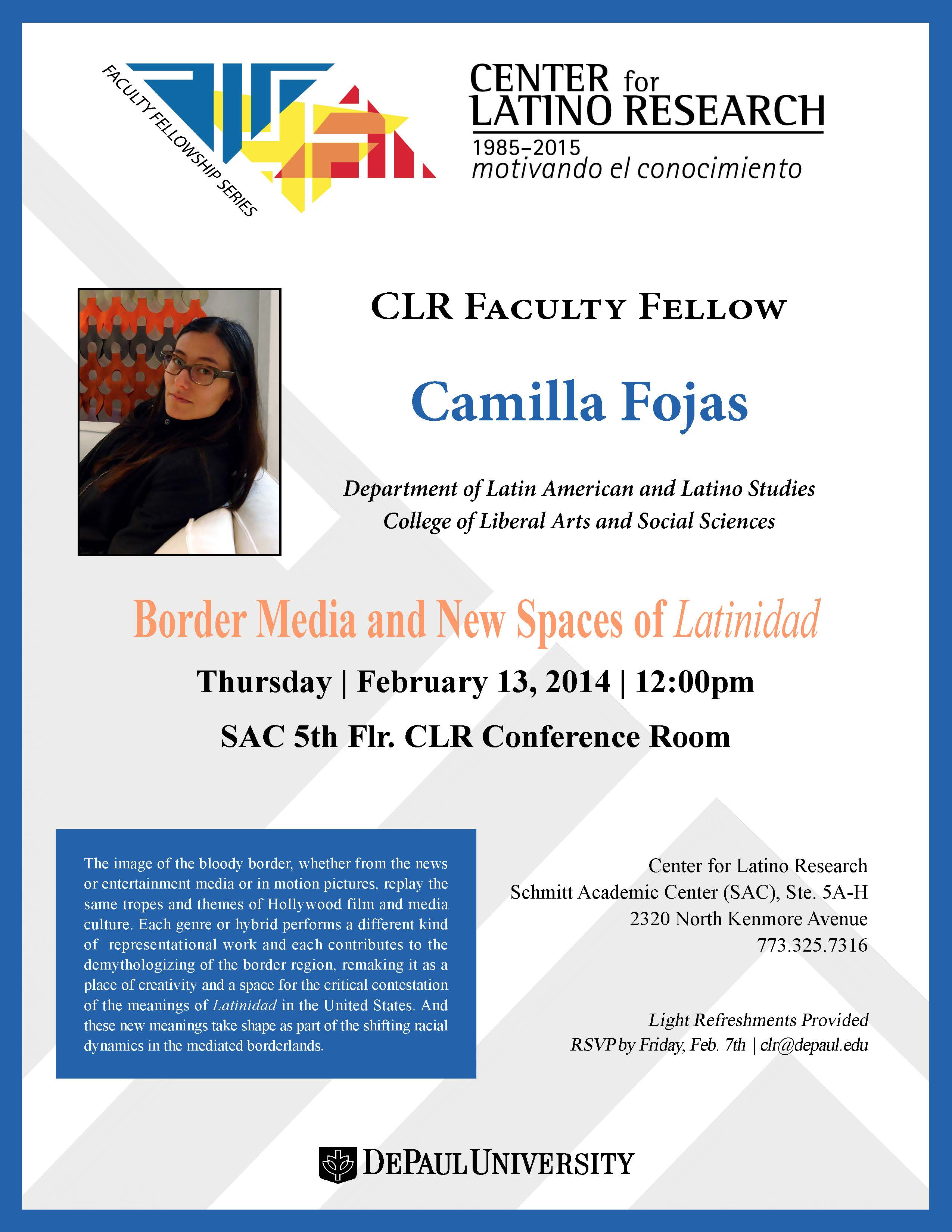 CLR Faculty Fellowship Research Presentation  |  Dr. Camilla Fojas