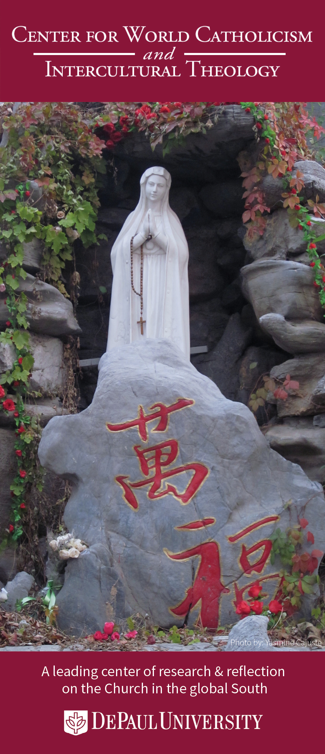 Cover of CWCIT brochure showing a statue of Mary in China