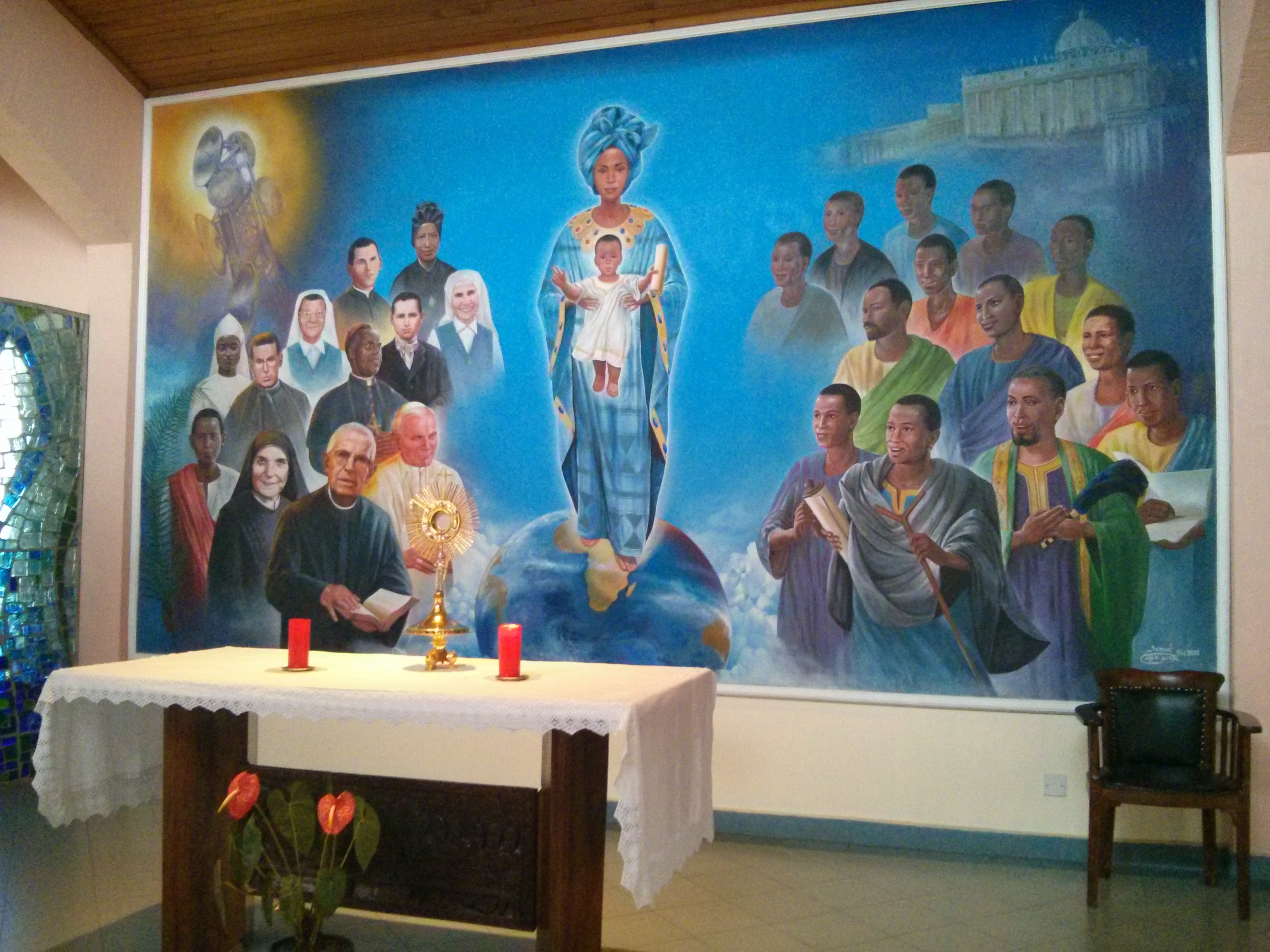 Altar mural in chapel at Paulines Africa headquarters in Nairobi
