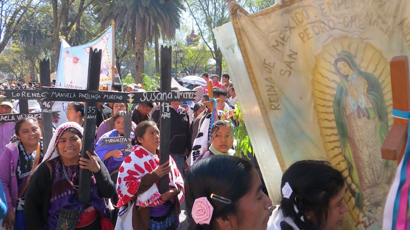 Women in Chiapas, Mexico, in the annual march commemorating the 45 indigenous victims of the 1997 Acteal massacre