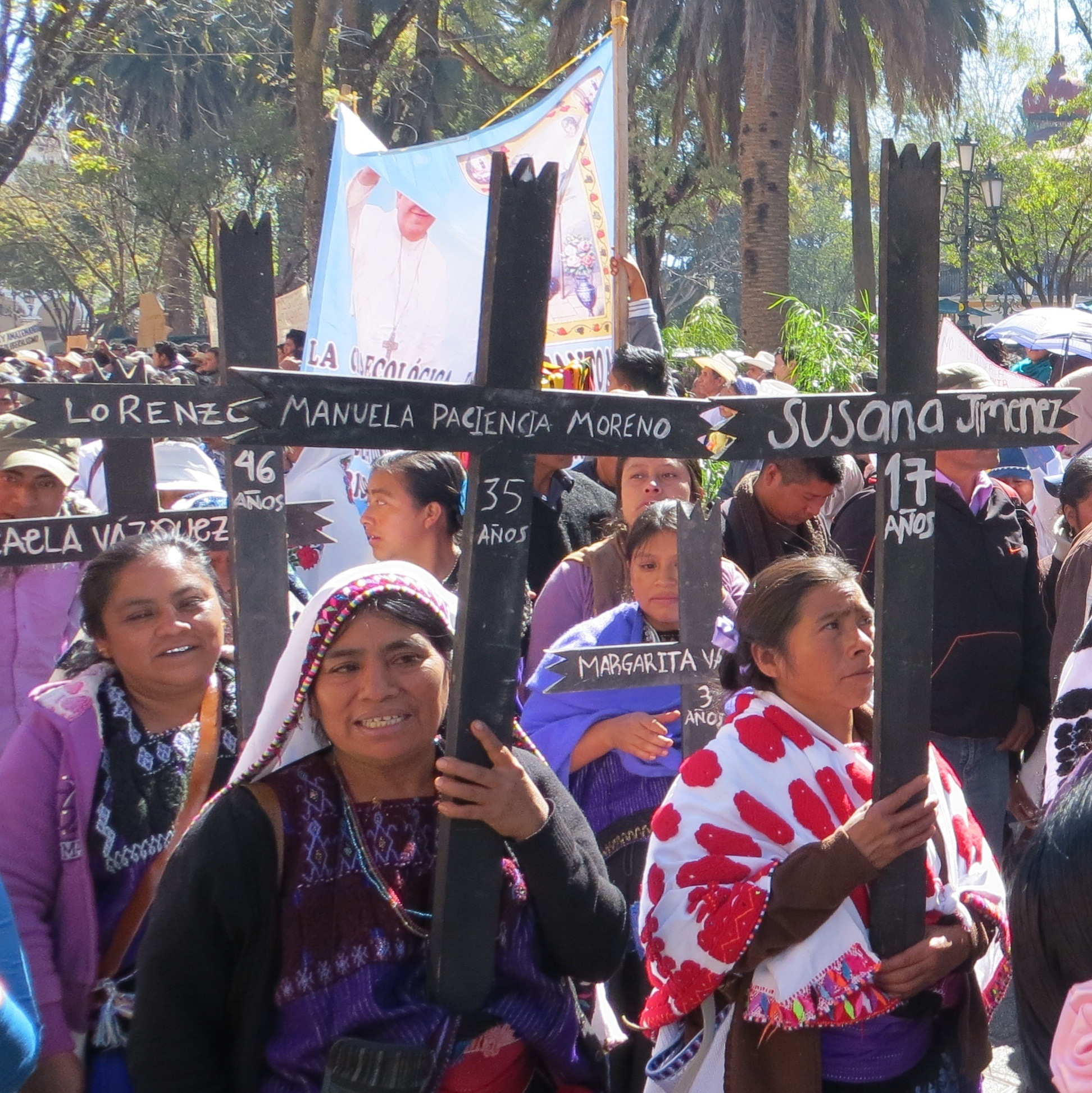 Procession of indigenous Catholic women in Chiapas, Mexico
