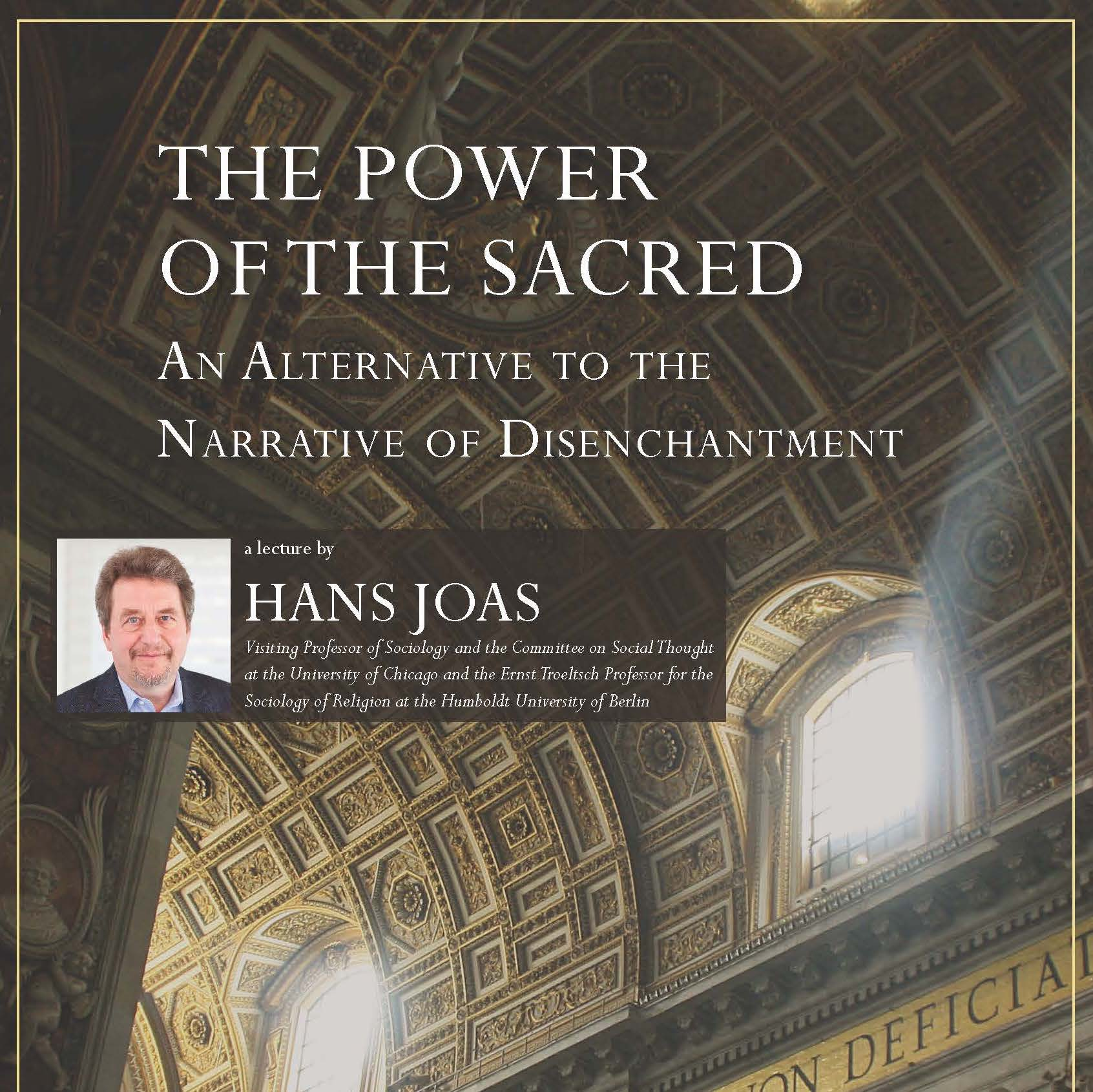 Hans Joas lecture on Oct. 26