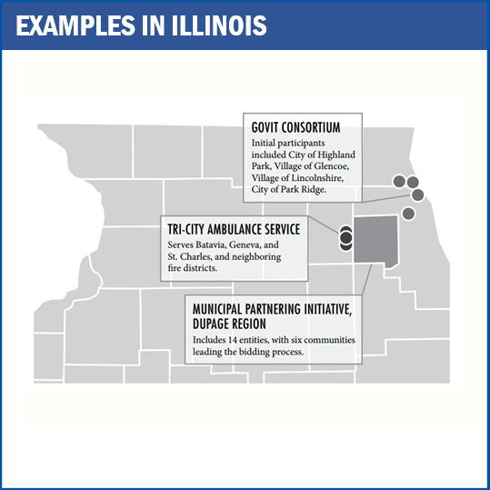 Map of shared service agreements in Illinois